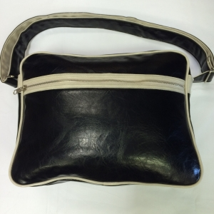 Black White-Trimmed Messenger Bag