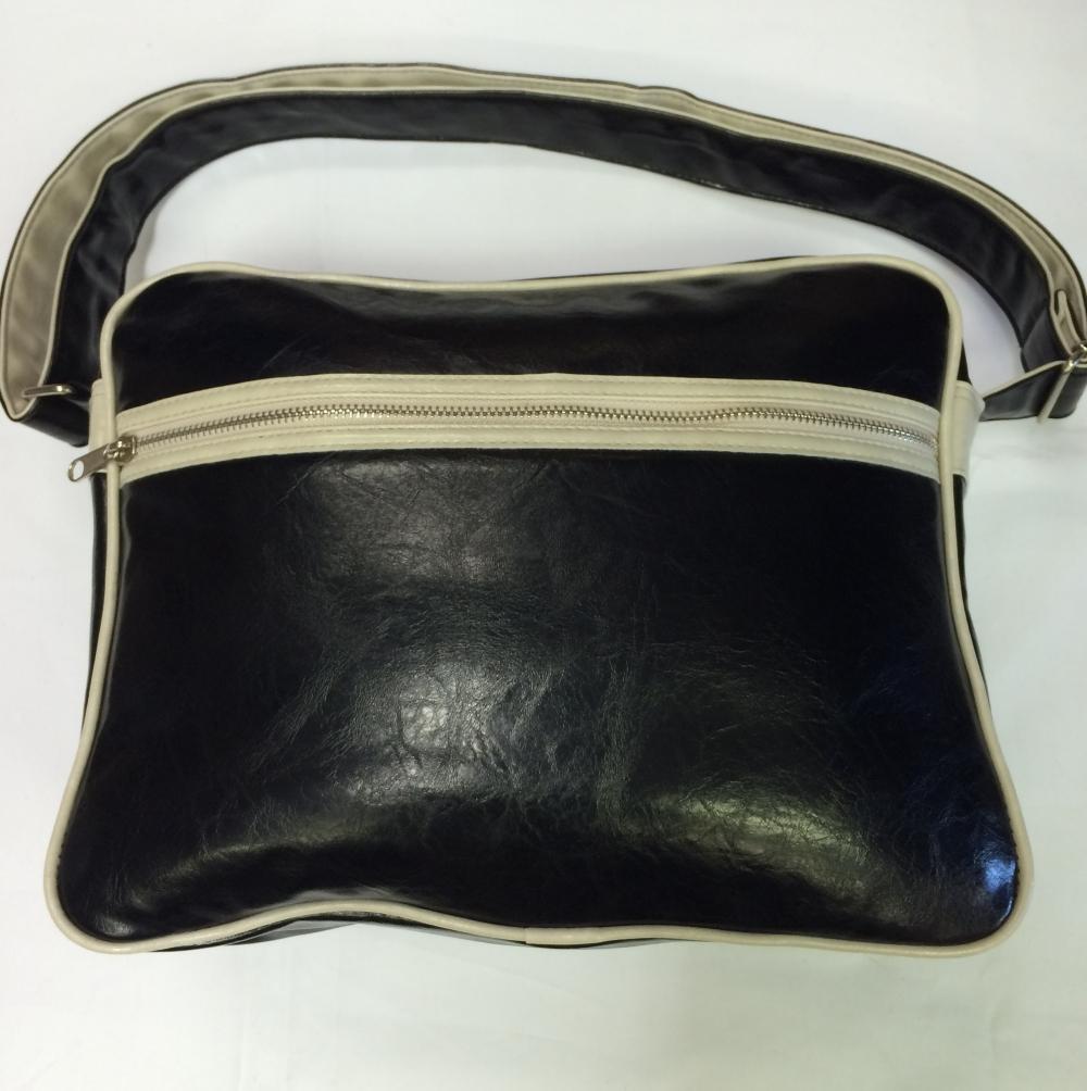 Black White-Trimmed Messenger Bag